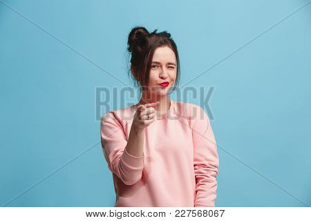 I Choose You And Order. The Smiling Business Woman Point You, Want You, Half Length Closeup Portrait