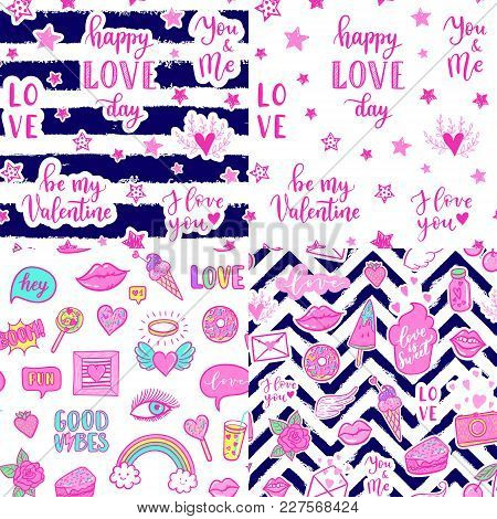 Vector Seamless Pattern Set With Fashion Fun Patches: Lips, Star, Strawberry, Cake, Camera, On Backg