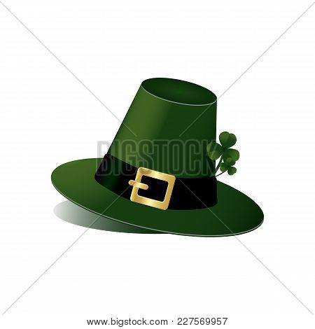 Leprechaun Hat With Fhree Leafed Clover On White Background. St. Patrick S Day, Spring, Saint, Patri