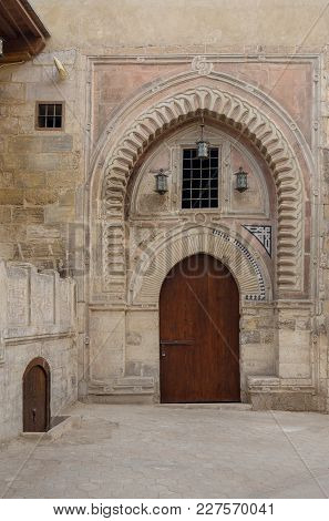 Gate Of Darb Al Labana Alley, A Bahari Mameluke Era Gate With Small Window Covered With Iron Bars An
