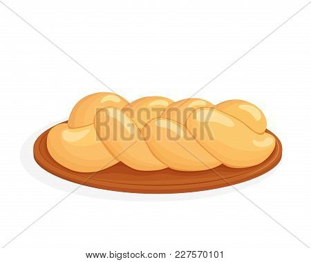 Braided Bread, Challah - Jewish Traditional Holiday Bread, Isolated On White Background
