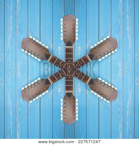 Musical Instrument - Abstract Star Headstock Peghead Twelve-string Vintage Acoustic Guitar On A Blue