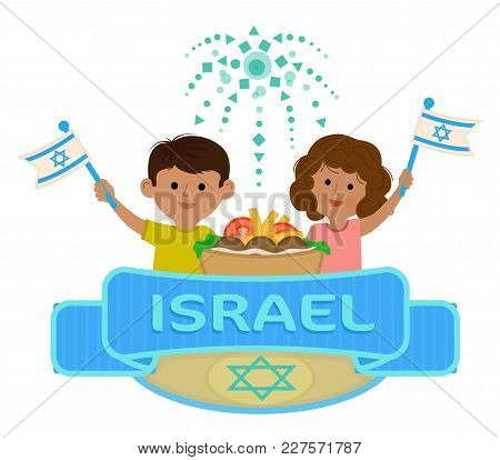 Israel Independence Day Clip-art Of Boy And A Girl Holding Flags, And A Banner With The Word Israel