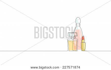Single Continuous Line Art Perfume Bottle Lipstick Cosmetics Silhouette. Woman Fragrance Glamour Sym
