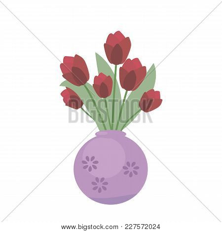 Fresh Red Festive Tulips In A Ceramic Violet Vase On A White Background.