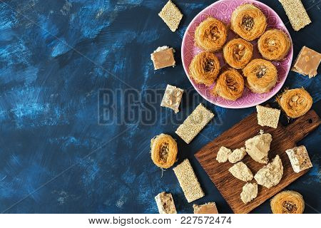 Eastern Sweets, Baklava, Halva, Sherbet. Top View, Space For Text