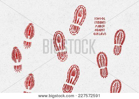 United States, 20 February 2018 - Illustration Idea Of School Students Marching Against Gun Laws.