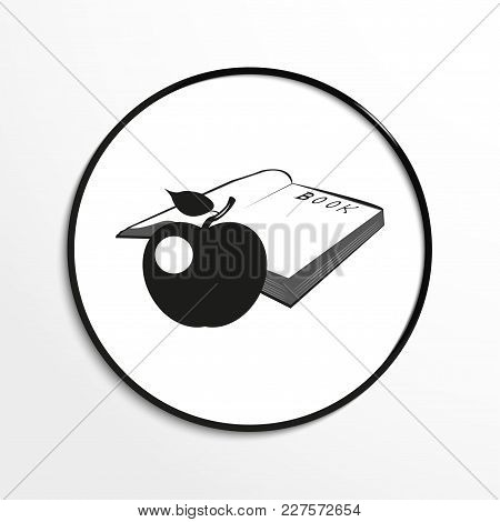 Apple And An Open Book. Conditional Symbol. Vector Icon.