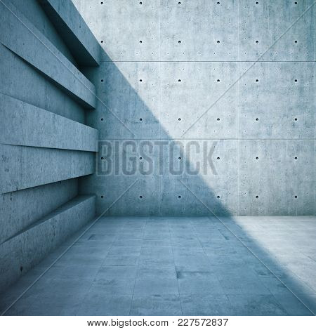 Architectural design of walls from geometric shapes. 3D illustration.
