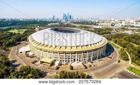 Moscow, Russia - August 19, 2017: Aerial View Of Luzhniki Stadium In Moscow. Luzhniki Stadium Has Be