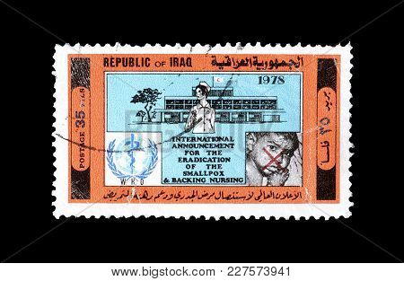 Iraq - Circa 1978 : Cancelled Postage Stamp Printed By Iraq, That Shows Hospital And Who Emblem And