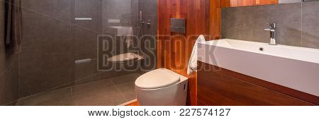 Wooden Bathroom With Shower