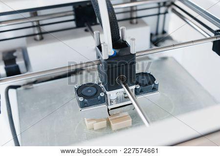 3d Printer. Modern 3d Printer Printing Figure Home Close-up Macro