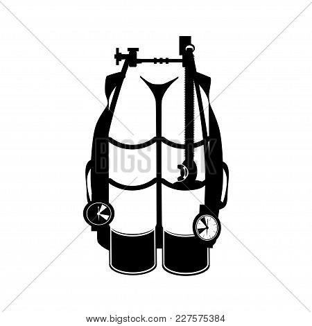 Aqualung For Diving Vector Illustration. Scuba Underwater Diving Equipment, Black Template, Flat Sty