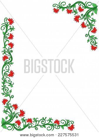 Ornamental Vertical Floral Frame With Leaves And Flowers In Green And Red Hues, Vector Illustration