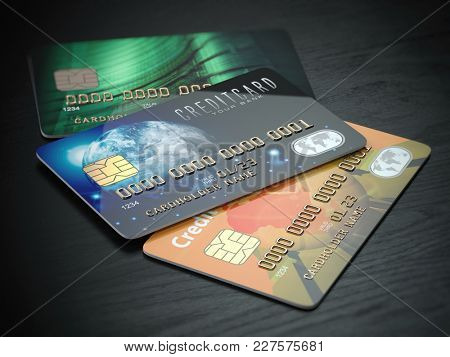 Three colored credit cards isolated on black wooden desk background, 3d illustration