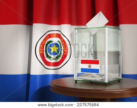 Ballot box with flag of Paraguay and voting papers. Paraguayan presidential or parliamentary election. 3d illustration