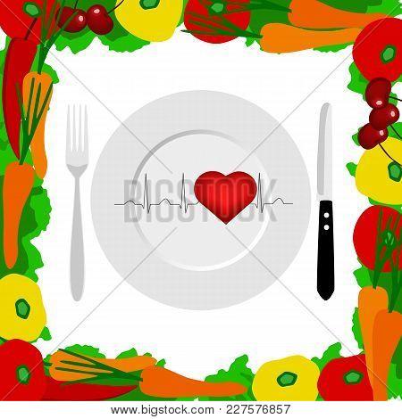 Healthy Lifestyle. Cutlery. Health. Cardiogram. The Choice Dinner Time Vector Illustration