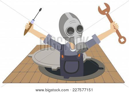 Worker In The Gas Mask Working In The Sewer Manhole Illustration Isolated. Worker In The Gas Mask Wi