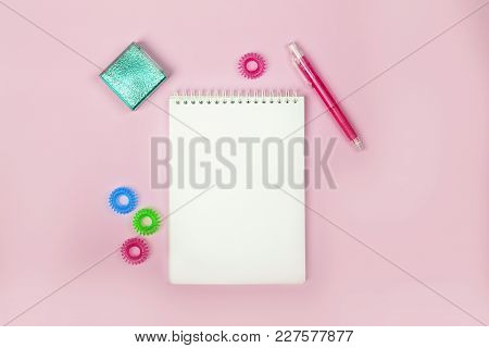 Women's Fashion Accessories On Pink Background.