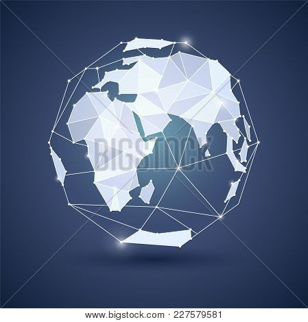 Globe Or Earth Icon On Dark Blue Background. Planet. Triangle Polygonal Style. Jpg Include Isolated