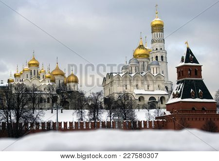 Moscow Kremlin Churches. Blue Sky Background. Color Winter Photo.