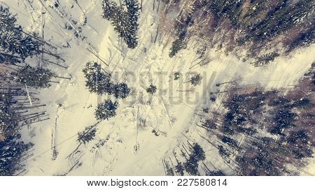 Drop Down View Of Road Going Through Winter Forest. Aerial View Of Winter Landscape From Above.
