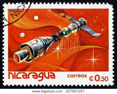 Nicaragua - Circa 1982: A Stamp Printed In Nicaragua Shows Apollo-soyuz Mission, The First Joint U.