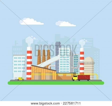 Industrial Factory Buildings From The Outside. Pipes And Blast Furnaces, Working Machines. Buildings