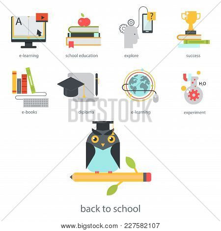 Distant Learning Flat Design Online Education Video Tutorials Staff Training Store Learning Research