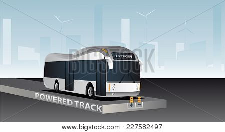 Online Electric Vehicle. Bus On A Powered Track With Contactless Induction Charging
