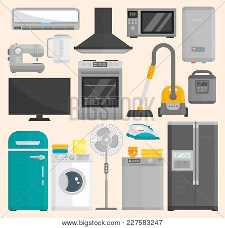 Group Of Home Appliances Isolated On White Background. Kitchen Equipment Refrigerator Home Appliance