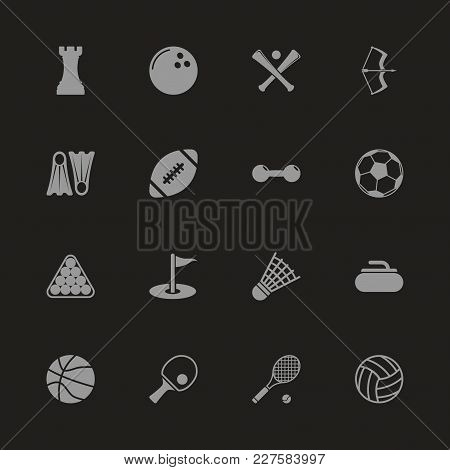 Sport Icons - Gray Symbol On Black Background. Simple Illustration. Flat Vector Icon.