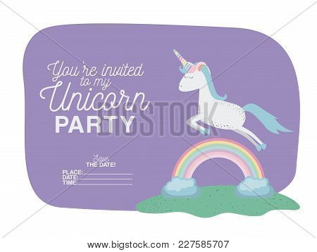 Unicorn Party Invitation Card With Floral Decoration And Rainbown Vector Illustration Design