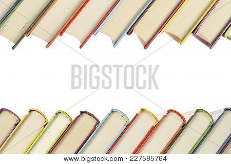 Row Of Colorful And Slanted Books With Copy Space
