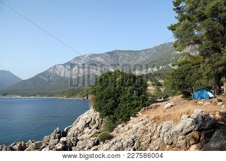 A Tent Camp Near The Korsan Cove And Karaoz Beach In Kumluca, Antalya