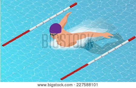 Isometric Male Swimmers Doing Butterfly Style In Different Swimming Lanes. Sports Background.