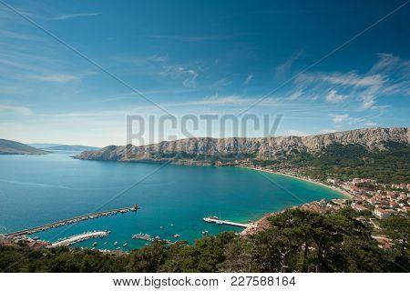 Aerial view of Baska, Croatia