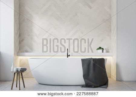 Bathroom Interior With White Wooden Walls, A Large Round Tub And A Wooden Chiar. 3d Rendering Mock U