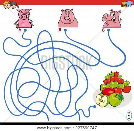 Paths Maze Game With Pigs And Apples