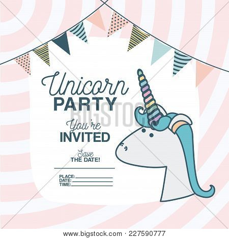 Unicorn Party Invitation Card With Floral Decoration And Garlands Vector Illustration Design