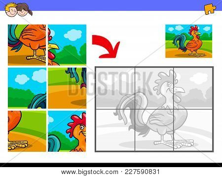 Jigsaw Puzzles With Rooster Animal Character