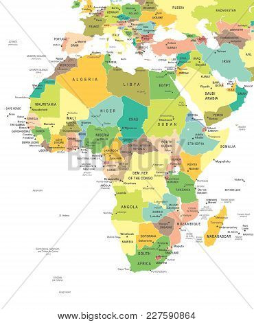 Africa Map - Highly Detailed Color Vector Illustration