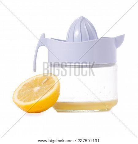 Juicer Lemon Juice On White Background Isolation