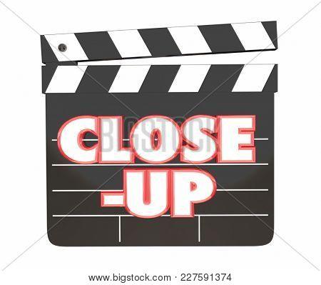 Close-Up Movie Clapper Board Film Studio Shoot 3d Illustration