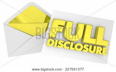 Full Disclosure Envelope Note Message 3d Illustration