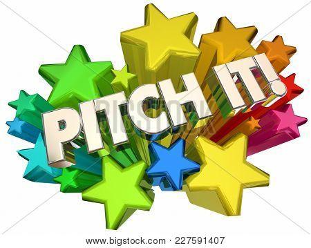 Pitch It Stars Present Idea Proposal 3d Illustration