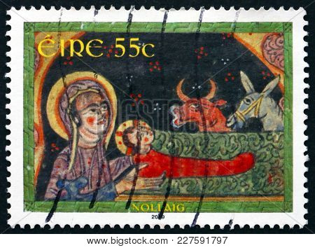 Ireland - Circa 2009: A Stamp Printed In Ireland Shows Nativity, Illustration From The Gospel Book,