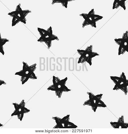 Trendy Seamless Pattern With Stars Drawn By Hand. Grunge, Graffiti, Sketch, Watercolour. Vector Illu