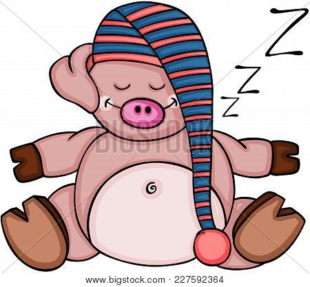 Scalable Vectorial Representing A Cute Pig Sleeping, Illustration Isolated On White Background.